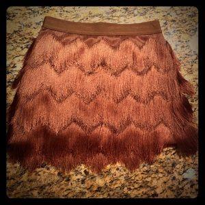 BCBGMAXAZRIA Modie Crochet Fringe Skirt XS